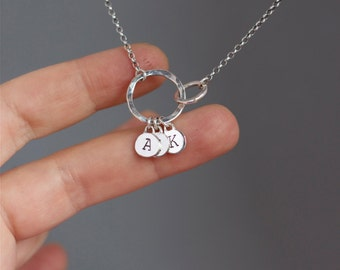 Personalised, initial jewellery.Interlocking circles,infinity necklace.Custom jewellery.