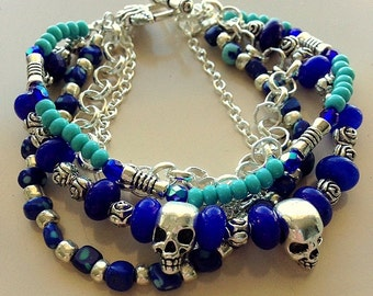 Grateful Dead Blue Jade and Silver Skulls and Roses Bracelet - Multistrand Blue, Turquoise and Silver Bracelet