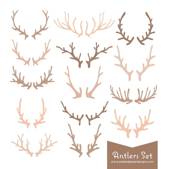 Antlers Digital Clipart - Rustic Colored Antler Graphics for Wedding Invites, Photography, DIY | Commercial License Available