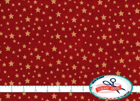 Gold Star On Red Fabric By The Yard Fat Quarter America