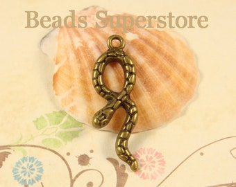 SALE 34 mm x 11 mm Antique Bronze 3D Snake Charm / Pendant - Nickel Free, Lead Free and Cadmium Free - 4 pcs (CH80)