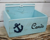 Card Wedding Box Holder Distressed Beach Nautical Rustic Anchor with Nautical Knot Baby Shower, Anniversary Many colors to choose from
