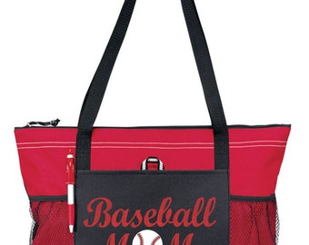 "Large 20"" Baseball MOM Sports Bag  with Glitter or solid color design."