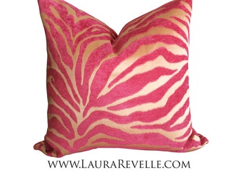 Designer Pillow Cover, Pink and Taupe Zebra Pillow, Throw Pillow, Accent Pillow Cover,