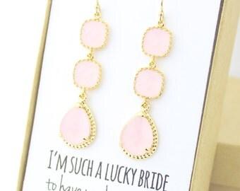 Bridesmaid Gift (Blush Pink / Gold Three Piece Rope Rim Earrings ER3)