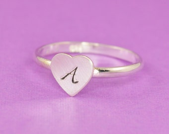 Heart Stacking Ring in Sterling Silver