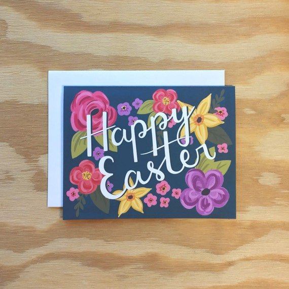 Happy Easter greeting card, illustration, floral, flowers, typography