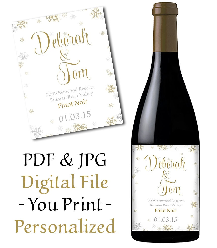 wedding wine bottle label printable snowflake