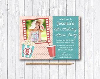 Movie Party Invitation Printable, Photo Birthday Invitation, Movie Birthday Invitation, Cinema Party Birthday Invite, Girls Birthday invite