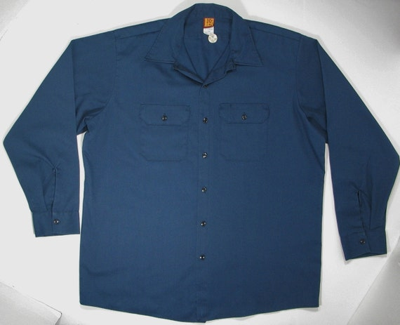 80s big ben work shirt navy blue button up mechanic uniform xl for Blue button up work shirt