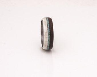 mens wedding ring turquoise men ring titanium wedding band with wood antler ring