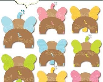 "Cute digital elephants clip art. 8 printable elephants 6"". Kids elephant party. Green, blue, pink, brown, by MissAngelClipArt"