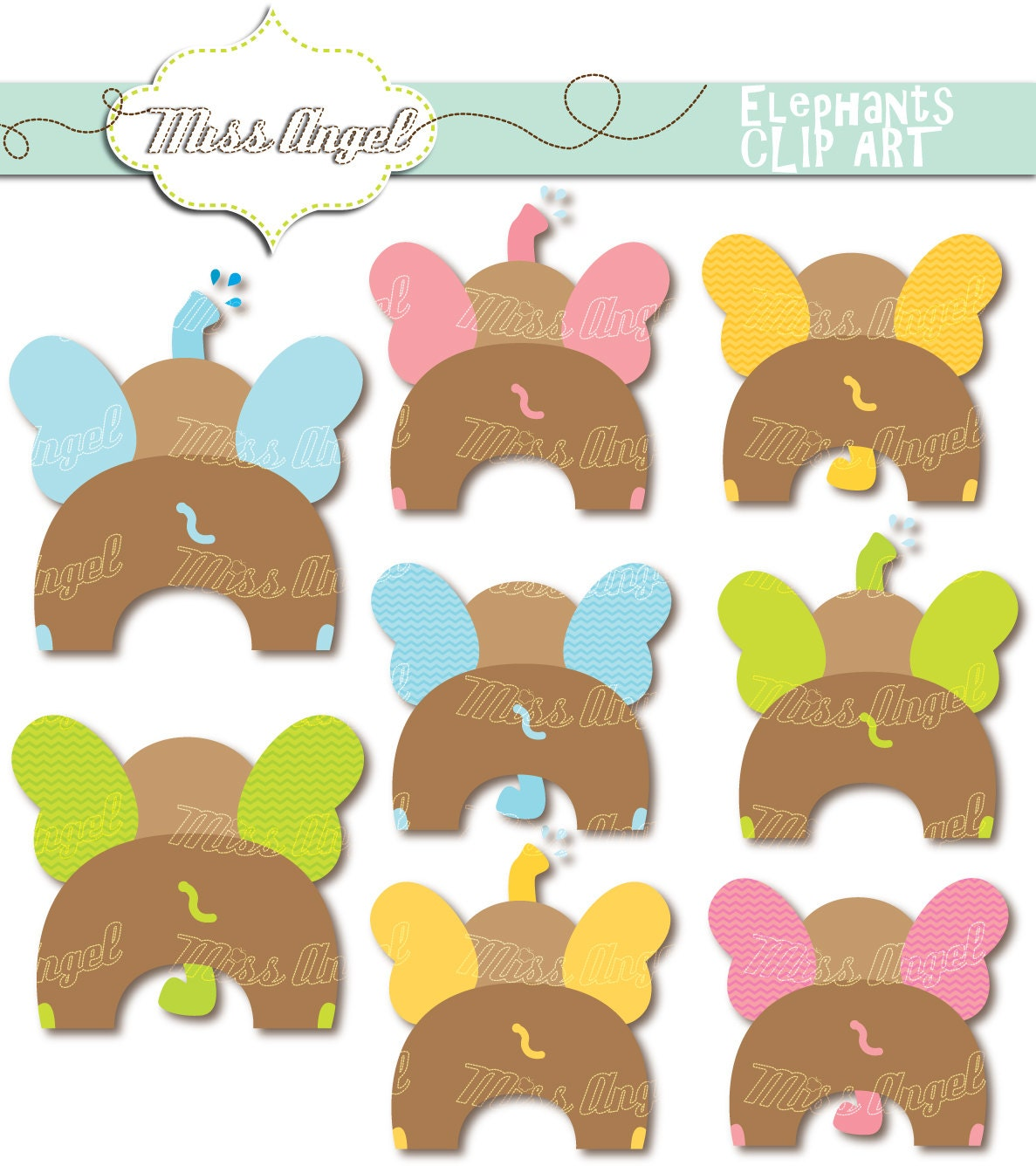 cute digital elephants clip art 8 printable elephants 6