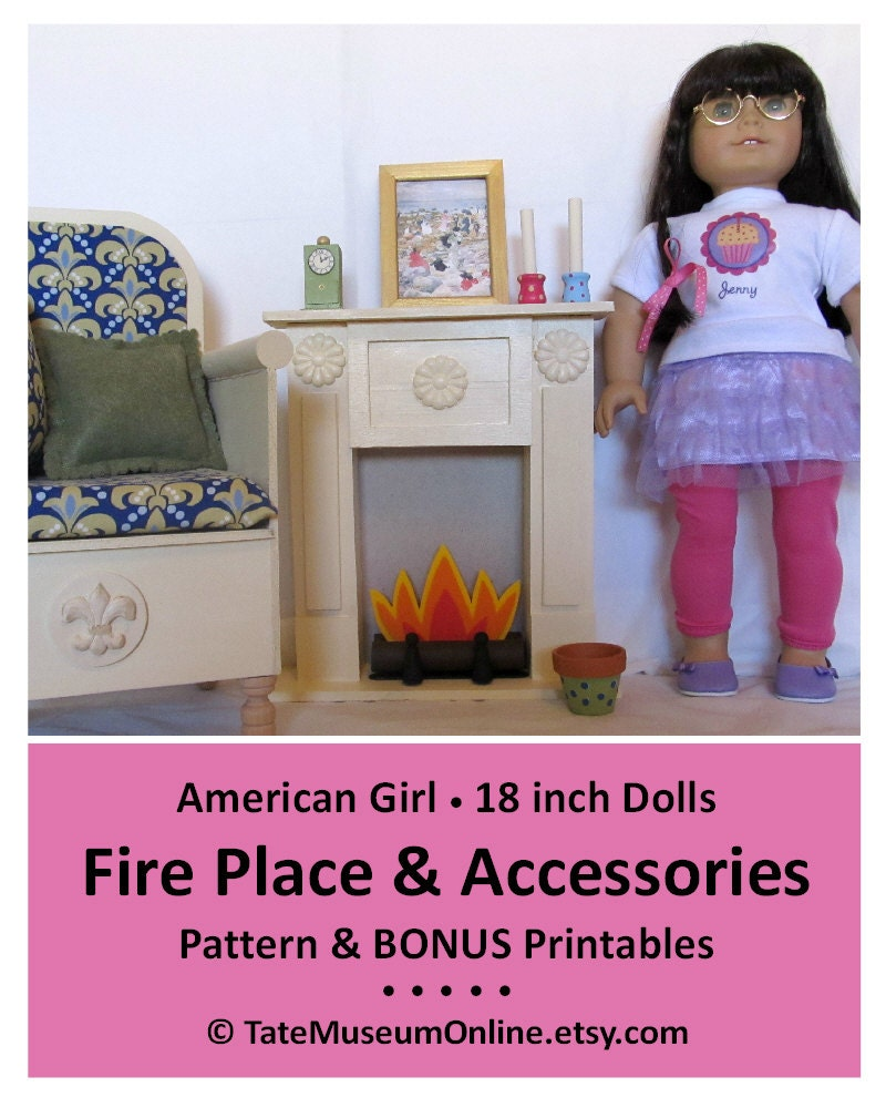 American Girl Doll Living Room Furniture: American Girl _ 18 Inch Doll Furniture PATTERN _ Fire Place