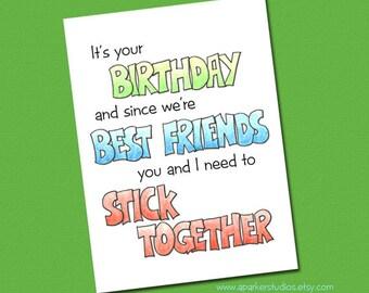Funny Birthday card for best friend | Handmade birthday card | Best friend birthday | illustrated card for Friend | bff birthday, funny card