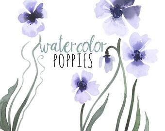 Purple Poppies Watercolor Paintings, Violet Watercolor Flowers,Violet Poppies, Purple Poppy Watercolor Clip Art, Digital Scrapbooking Flower