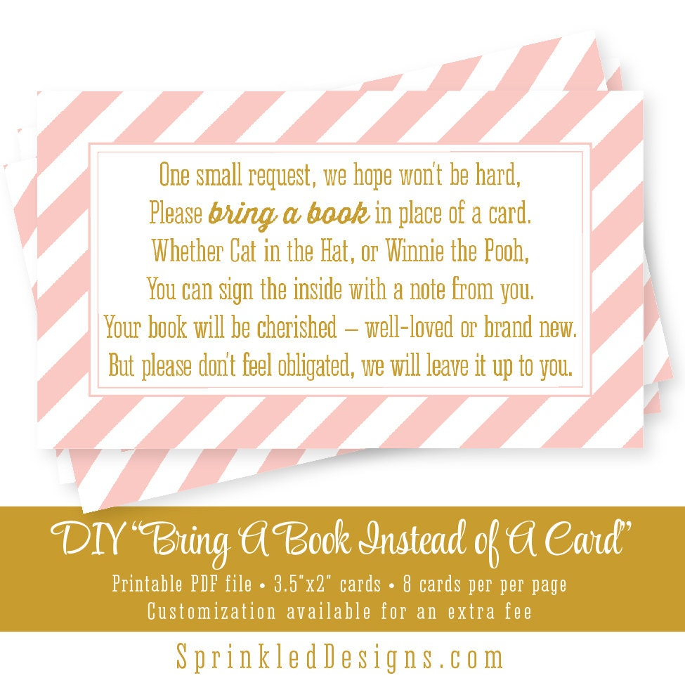 Bring A Book Instead Of A Card Blush Pink Gold Stripes