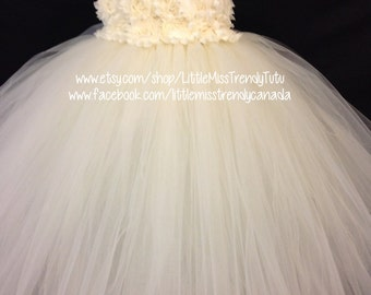 Couture Tutu Dress, Ivory Flower Girl Tutu Dress, Ivory Flower Tutu Dress, Ivory Tutu Dress, Flower Girl Dress Ivory, Birthday Tutu Dress