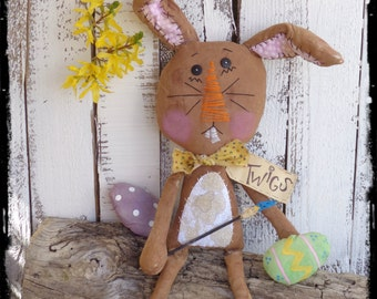 Primitive Bunny Rabbit Doll, Handcrafted Folk Art, Easter Spring Decoration, ofg faap
