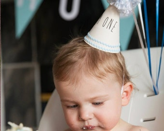Mini Party Hat in Baby Blue, First Birthday, I'm One, Baby, Toddler, Kid, Boy