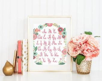 DIGITAL Floral Alphabet abc Nursery Print, Alphabet Print for Baby, Pink Coral Nursery Wall Art, Pretty Baby Girl Nursery Decor - ANY SIZE