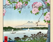 """Grove on the Sumida River (隅田川水神の森真崎), Ukiyo-e woodblock print. (all artworks are sold without the """"Calliope's Bucket"""" stamp)"""