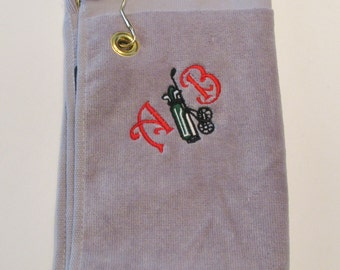 Embroidered Golf Personalized Putter Towel With Hook