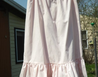Girl's Ruffled Petticoat, Cotton Muslin, MADE TO ORDER, Size 3 to 8, Drawstring or Elastic Waist, Long, Old Fashioned, Prairie Petticoat