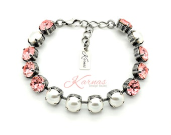 PEACH PEARL 8mm Crystal & Pearl Bracelet Made With Swarovski Elements *Pick Your Finish *Karnas Design Studio *Free Shipping*