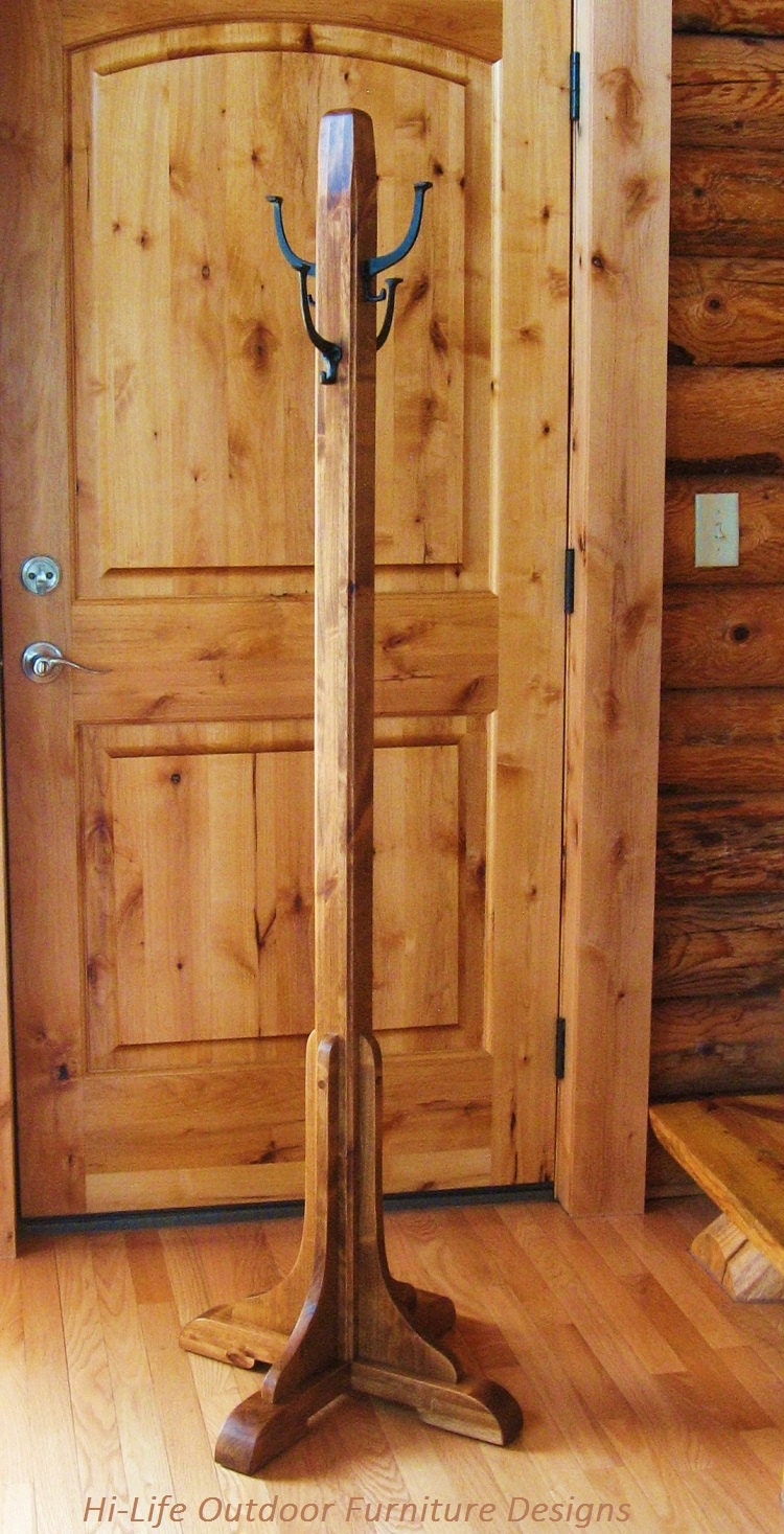 Coat Tree Handmade Alder Wood 4 Cast Iron By