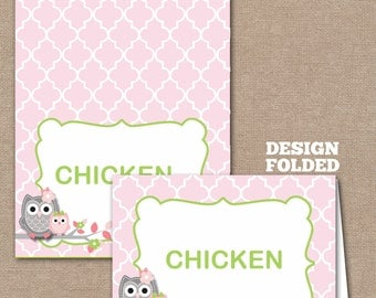 INSTANT DOWNLOAD, Owl Food Labels, Owl Place Cards, Buffet Labels, Place Cards, Owl, Pink (#521)