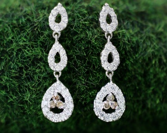 Champagne and White Diamond Halo Dangle <Prong> Solid 14K White Gold (14KW) Chandelier Earrings *Fine Jewelry* (Free Shipping)