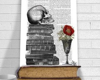Skull On Books - Yorick skull art gothic decor shakespeare lover dark art dark decor goth art print book lover gift bookworm gift idea