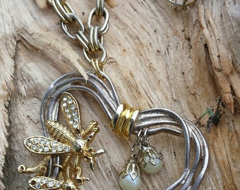 Necklace - Gold Bees/ Silver Heart