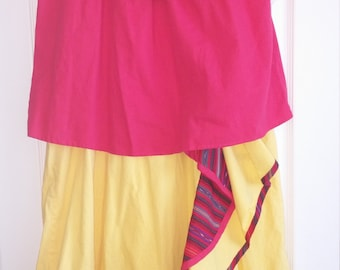 Vintage 1980's Bueno Flamboyan Two Piece Red & Yellow Maxi Peasant Skirt and Top Size Medium