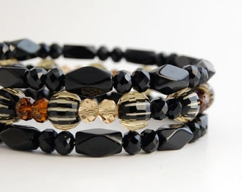 Black and Amber Glass Bead Memory Wire Bracelet, Beaded Wrap Bracelet, Beaded Bangles
