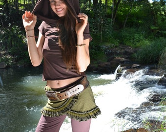 Wanderer Short-Sleeved Cowl Neck Hood, Hoodie Top, Off the Shoulder Top, Hippie, Faerie, Festival Clothing, Pixie top,