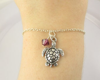 Sea Turtle Bracelet- choose a birthstone, Turtle Bracelet, Sea Turtle Jewelry, Birthstone Turtle, Sea Turtle Charm, Turtle Gift, Sea Turtle