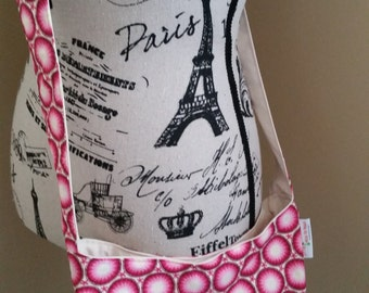 SALE!! Small Crossbody Bag in Pink Cotton Print