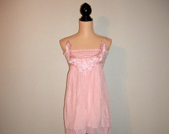 Womens Boho Dress Feminine Medium Spaghetti Strap Pink Dress Size 8 10 Sundress Summer Dress Romantic Clothing FREE SHIPPING Womens Clothing