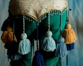 ATS Blue and Gold Tribal Yarn Tassel Belt
