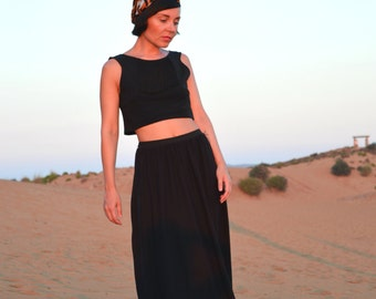 Black Maxi Skirt + FREE GIFT!!!!!!!! Strapless Striped Top // Elastic Jersey // Everyday Modest Clothing // Elastic Waistband