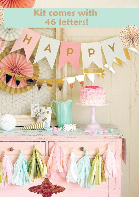 letter banner personalized banner wedding garland pink and gold
