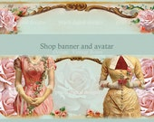 Vintage Roses etsy shop banner, Instant download, blank file,vintage ladies among pink roses, fashion vintage theme, gown, , DIY