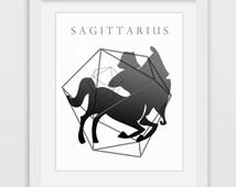 Sagittarius Wall Art, Zodiac Print, Sagittarius Print, Printable Art, Black Sagittarius, Printable Zodiac, Zodiac Sagittarius, Downlodable