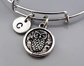 Owl bangle, Owl bracelet, Owl charm, Silver owl, Expandable bangle, Personalized bracelet, Charm bangle, Monogram, Initial bracelet