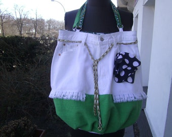 green white JeansBag, white Jeansbag, recycled Bag, upcycled Bag, Women, green Linenbag