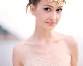 Bridal Headpiece, Bridal Hairpiece, Wedding Headpiece, Bridal Golden Headpiece - BETH -Gold Bridal Floral Headband with Pearls & Gold Leaves