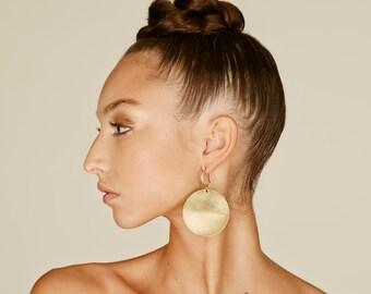 Africa earrings, africa jewelry, Boho Brass disc, tribal earrings, Big earrings, African earrings, Minimal earrings, disc earrings