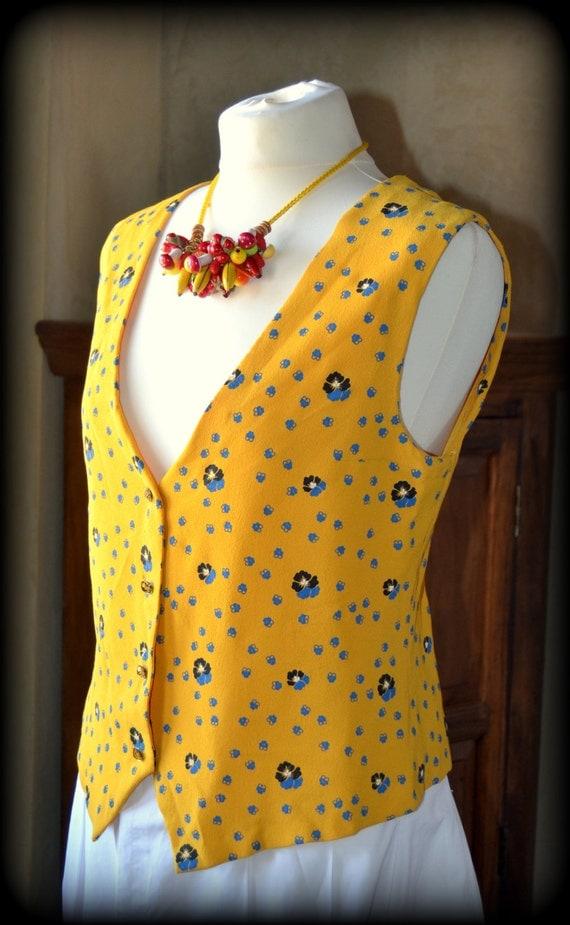 Vintage tailored vest ~ romantic crêpe waistcoat ~ Medium Size Vest by CatsAndHatsVintage